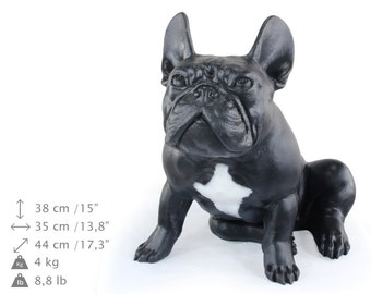 French Bulldog (sitting), black with white, dog natural size statue, limited edition, ArtDog