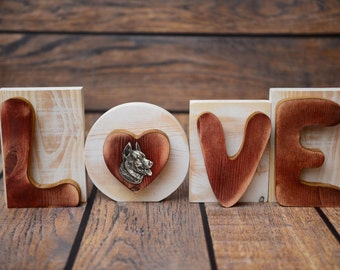 """Wooden sign LOVE great decoration! Purebred dog in the letter """"O"""" - Beauceron"""