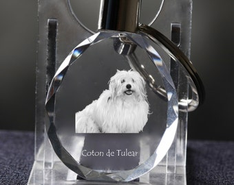 Coton de Tuléar    , Dog Crystal Keyring, Keychain, High Quality, Exceptional Gift . Dog keyring for dog lovers