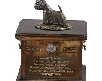 West Highland White Terrier - Exclusive Urn for dog ashes with a statue, relief and inscription. ART-DOG. Cremation box, Custom urn.