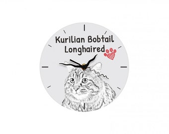Kurilian Bobtail longhaired, Free standing MDF floor clock with an image of a cat.