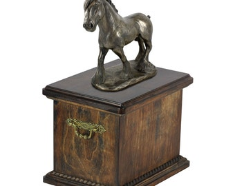 Urn for horse ashes with a standing statue - Shire horse, ART-DOG Cremation box, Custom urn.
