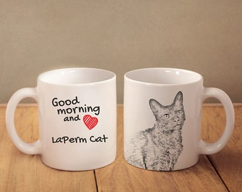"LaPerm - mug with a cat and description:""Good morning and love..."" High quality ceramic mug. Dog Lover Gift, Christmas Gift"