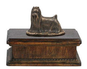 Exclusive Urn for dog's ashes with a Yorkshire Terrier statue, ART-DOG. New model Cremation box, Custom urn.