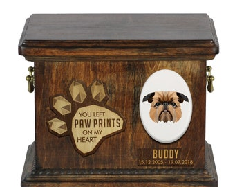 Urn for dog ashes with ceramic plate and sentence - Geometric Brussels Griffon, ART-DOG. Cremation box, Custom urn.
