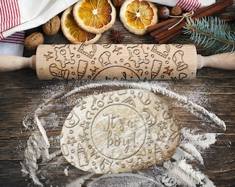 BABY SHOWER BOY. Engraved rolling pin for Cookies, Embossing Rollingpin, Laser Engraved Rolling-pin. Decorating Roller