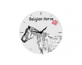 Belgian horse, Belgian draft horse, Free standing MDF floor clock with an image of a horse.