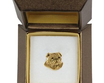 NEW, Bulldog, English Bulldog, dog pin, in casket, gold plated, limited edition, ArtDog