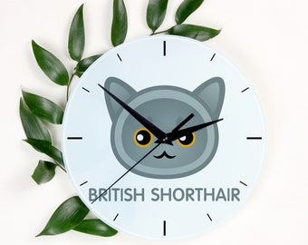 A clock with a British Shorthair cat. A new collection with the cute Art-Dog cat