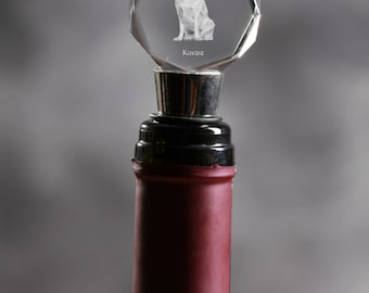 Kuvasz, Crystal Wine Stopper with Dog, Wine and Dog Lovers, High Quality, Exceptional Gift