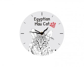 Egyptian Mau, Free standing MDF floor clock with an image of a cat.