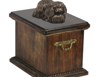 Urn for dog's ashes with a Pekingese statue, ART-DOG Cremation box, Custom urn.