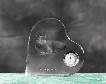 Russian Blue- crystal clock in the shape of a heart with the image of a pure-bred cat.