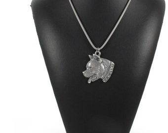 NEW, American Staffordshire Terrier (with collar), dog necklace, silver chain 925, limited edition, ArtDog