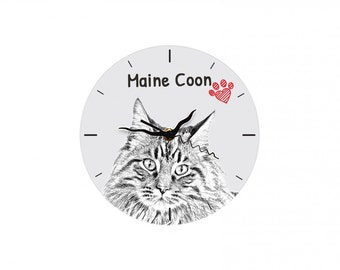 Maine Coon, Free standing MDF floor clock with an image of a cat.