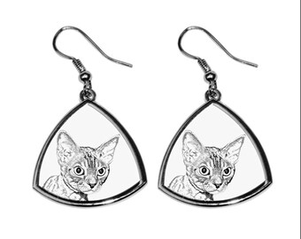 Devon rex, collection of earrings with images of purebred cats, unique gift. Collection!