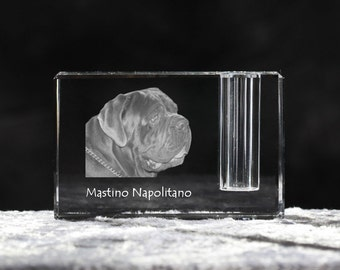 Neapolitan Mastiff, crystal pen holder with dog, souvenir, decoration, limited edition, Collection