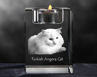 Turkish Angora, crystal candlestick with cat, souvenir, decoration, limited edition, Collection