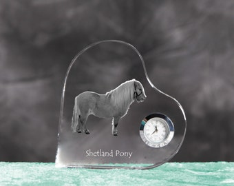 Shetland pony- crystal clock in the shape of a heart with the image of a pure-bred horse.