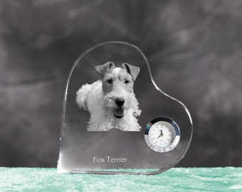Fox Terrier- crystal clock in the shape of a heart with the image of a pure-bred dog.