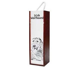 Irish Wolfhound - Wine box with an image of a dog.