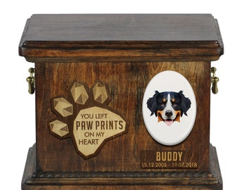 Urn for dog ashes with ceramic plate and sentence - Geometric Bernese Mountain Dog, ART-DOG. Cremation box, Custom urn.