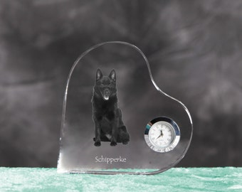 Schipperke- crystal clock in the shape of a heart with the image of a pure-bred dog.