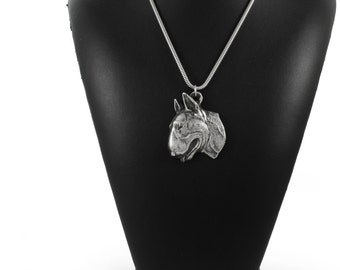 NEW, Bullterrier (flat medallion), dog necklace, silver cord 925, limited edition, ArtDog