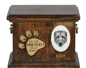 Urn for dog ashes with ceramic plate and sentence - Geometric Irish Wolfhound, ART-DOG. Cremation box, Custom urn.