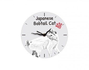 Japanese Bobtail, Free standing MDF floor clock with an image of a cat.