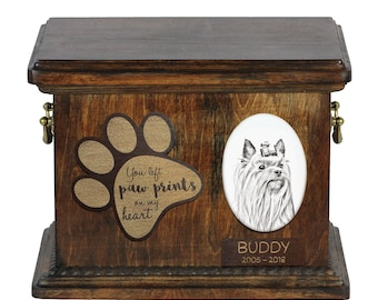 Urn for dog's ashes with ceramic plate and description - Yorkshire Terrier, ART-DOG Cremation box, Custom urn.