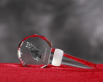 Kurilian Bobtail, Crystal Wine Stopper with cat, Wine and Cat Lovers, High Quality, Exceptional Gift. New Collection