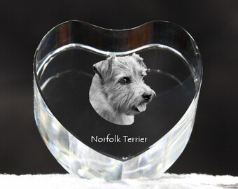 Norfolk Terrier, crystal heart with dog, souvenir, decoration, limited edition, Collection