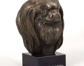 Japanese Chin, dog marble statue, limited edition, ArtDog. Made of cold cast bronze. Solid, perfect gift. Limited edition.