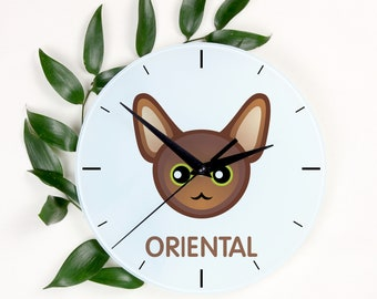 A clock with a Oriental cat. A new collection with the cute Art-Dog cat