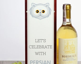 Let's celebrate with Persian cat. A wine box with the cute Art-Dog cat