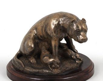 Staffordshire Bull Terrier (mama), dog wooden base statue, limited edition, ArtDog