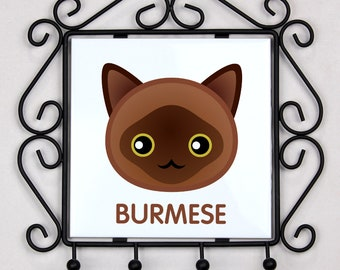 A key rack, hangers with Burmese cat. A new collection with the cute Art-dog cat