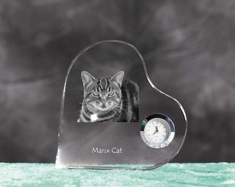 Manx cat- crystal clock in the shape of a heart with the image of a pure-bred cat.