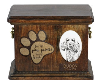 Urn for dog's ashes with ceramic plate and description - English Cocker Spaniel, ART-DOG Cremation box, Custom urn.