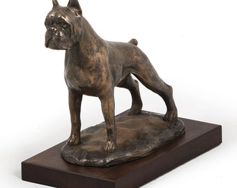 Boxer (cropped), dog wooden base statue, limited edition, ArtDog