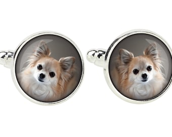 Chihuahua long haired. Cufflinks for dog lovers. Photo jewellery. Men's jewellery. Handmade
