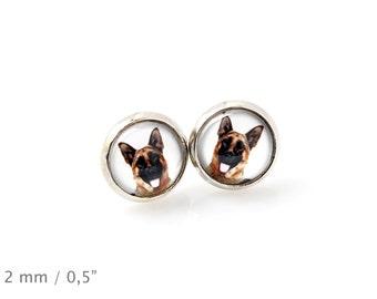 German Shepherd. Pet in your ear. Earrings. Photojewelry. Handmade.