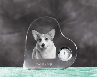 Cardigan Welsh Corgi- crystal clock in the shape of a heart with the image of a pure-bred dog.