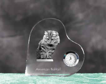 American Bobtail- crystal clock in the shape of a heart with the image of a pure-bred cat.
