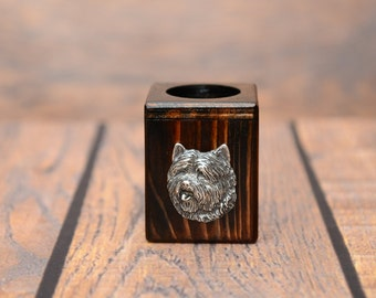 Cairn Terrier - Wooden candlestick with dog, souvenir, decoration, limited edition, Collection