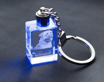 Bullmastiff, Dog Crystal Keyring, Keychain, High Quality, Exceptional Gift . Dog keyring for dog lovers