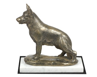 German Shepherd, dog white marble base statue, limited edition, ArtDog. Made of cold cast bronze. Perfect gift. Limited edition