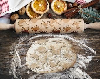 DINOSAURS. Engraved rolling pin for Cookies, Embossing Rollingpin, Laser Engraved Rolling-pin. Decorating Roller
