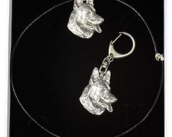 NEW, German Shepherd, dog keyring and necklace in casket, ELEGANCE set, limited edition, ArtDog . Dog keyring for dog lovers
